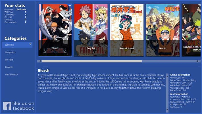 View details of a selected anime