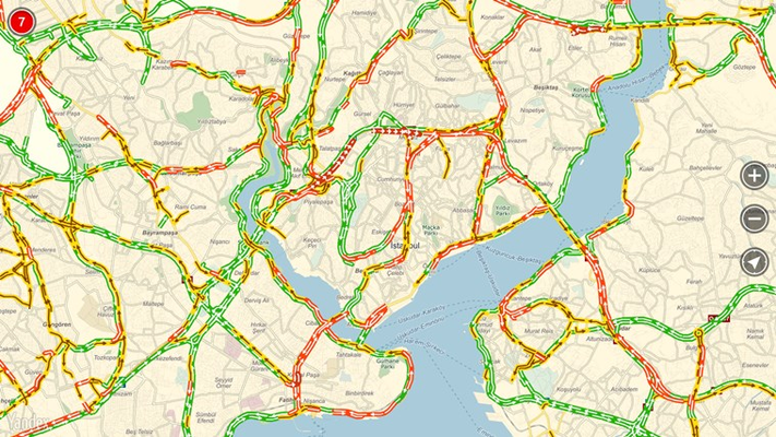 The app provides information on current congestion levels