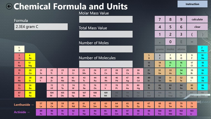 The formula tool lets you calculate the various properties of the compounds.