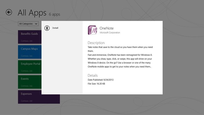 App details dialog for Windows Store link