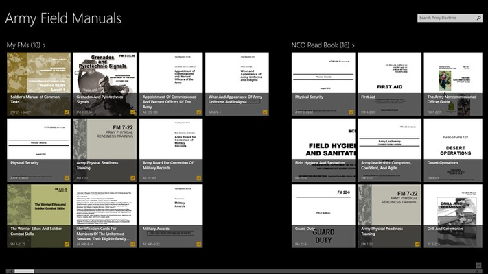 The main screen of the app listing your downloaded manuals and a categorized set of cover page images