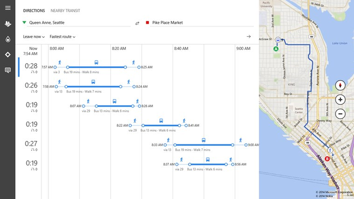 Get there faster with easy-to-compare transit route options.