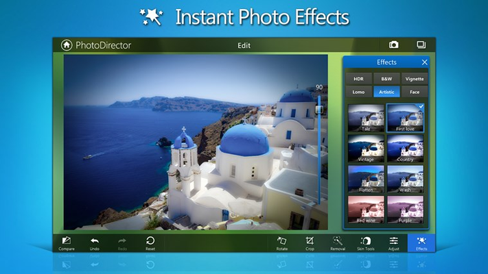 Instantly apply one-touch creative enhancements to your photos from a range of options.