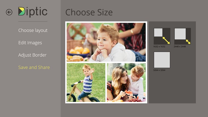 Choose from three export sizes: 1632x1632, 2448x2448, 3264x3264