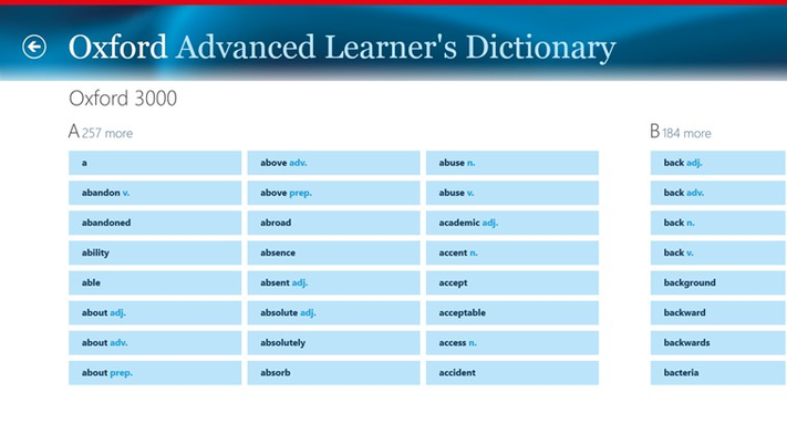 Oxford Advanced Learner's Dictionary, 8th edition for Windows 8
