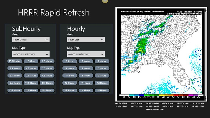 Showing Composite reflectively radar 5 hrs from time of generation.