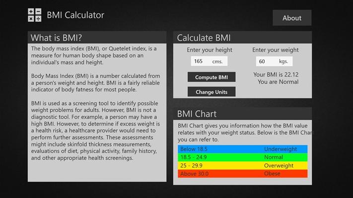 BMI Calculator with Metric units