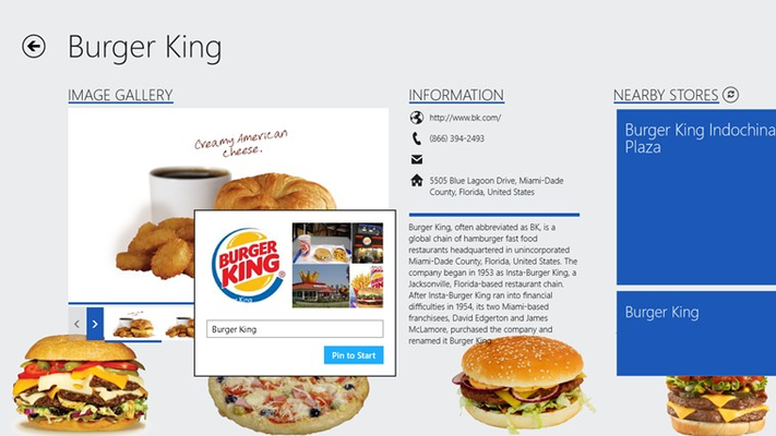 Easy to pin your favorite fast-food brands to the Start Screen for easier access later