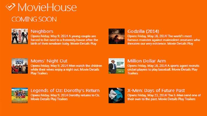 Main screen displays top 10 movies
