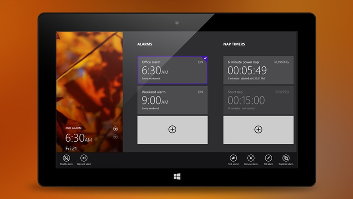 Swipe the screen to access the list of alarms and nap timers * Graphically enhanced (tablet)