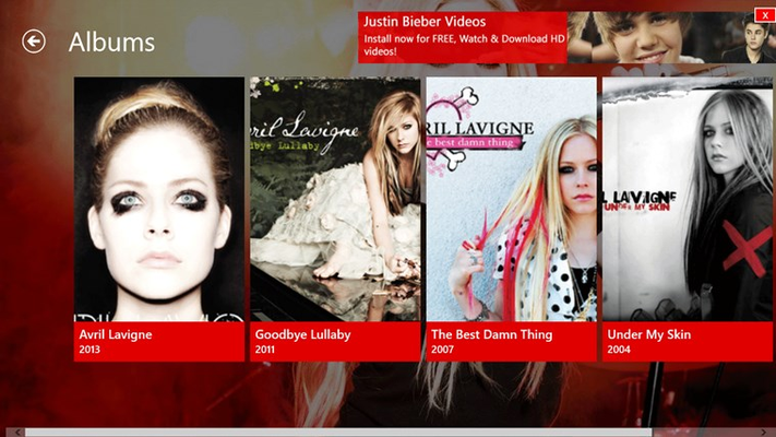 Avril Lavigne Videos for Windows 8