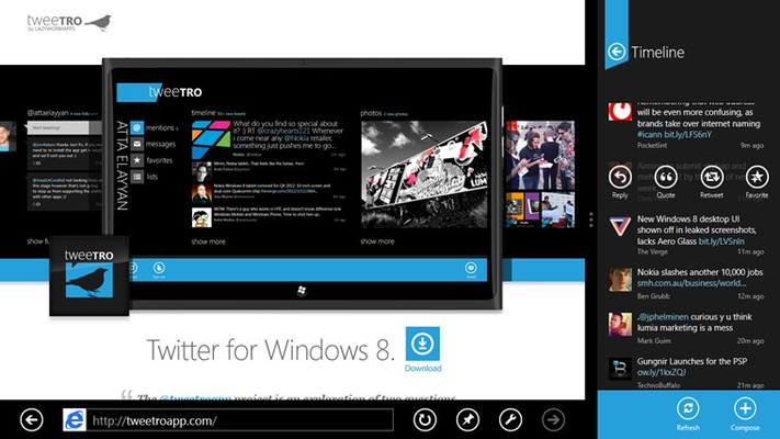 Multi-task like a Core i7 with snapped twitter feeds