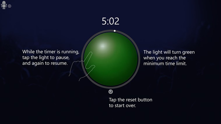 Start speaking and keep an eye on the light. It will turn green when you have reached the minimum target time.  * this is a screenshot of a help page within the app