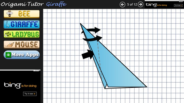 Origami Steps for Giraffe