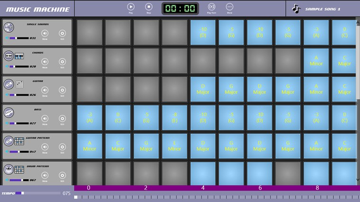 Easily create songs by creating track patterns and turning measures on and off.