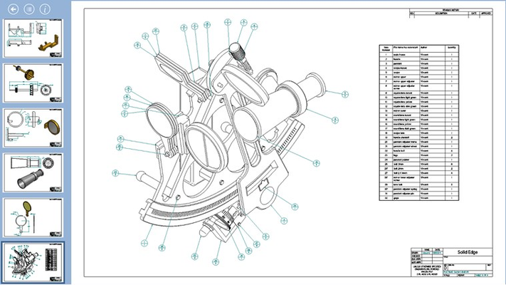 The Solid Edge Mobile Viewer with a parts list drawing shown.