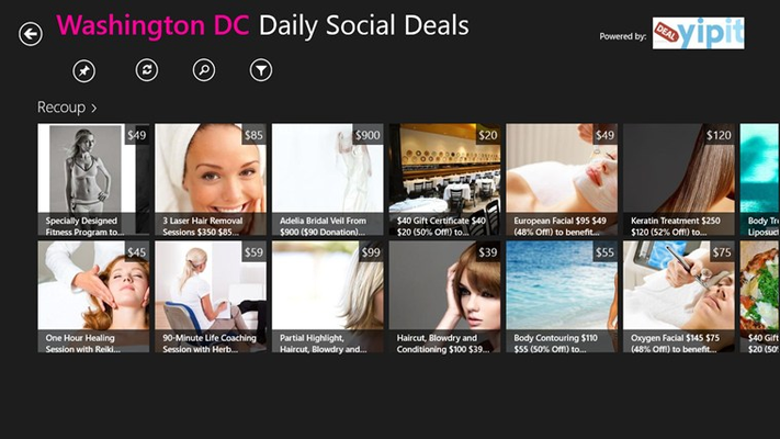 view all the deals from your cite visually and with price information
