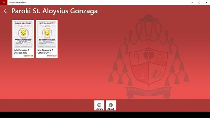 Contoh menu gereja paroki aloysius gonzaga, di mana di dalamnya terdapat dokumen yang siap diunduh.