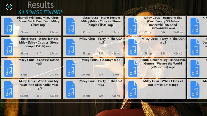 Result page with information about the music file