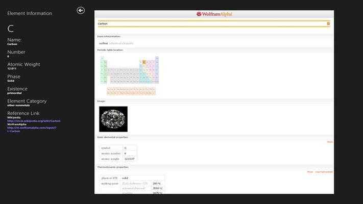 In-app Wolfram Alpha link.