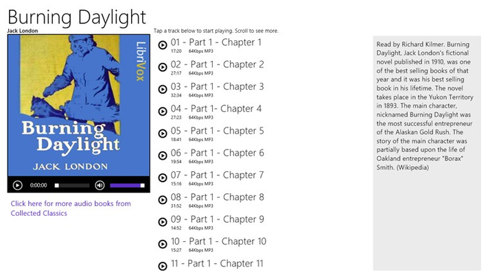 Tap the tracks to play each chapter. Swipe to scroll through the chapters.