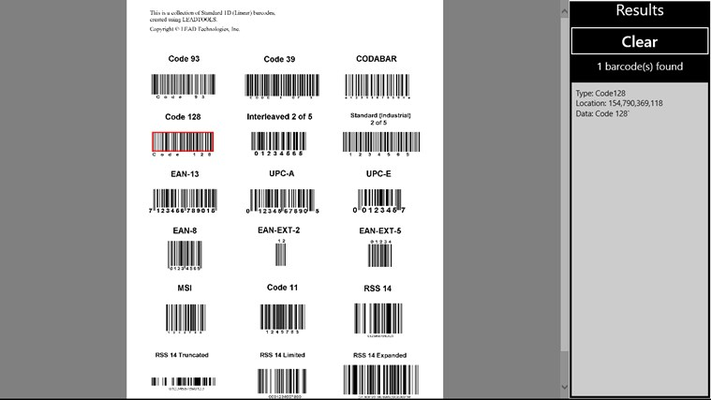 LEADTOOLS Barcode for Windows 8
