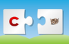 Match the puzzle pieces to put together letter with the correct image