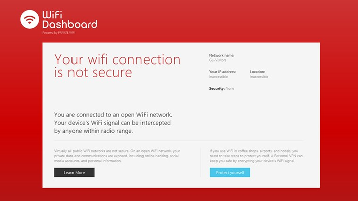 WiFi connection information: Not Secure