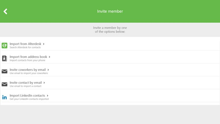 Invite your coworkers and business contacts by email or linkedin or find them in the Alterdesk database.