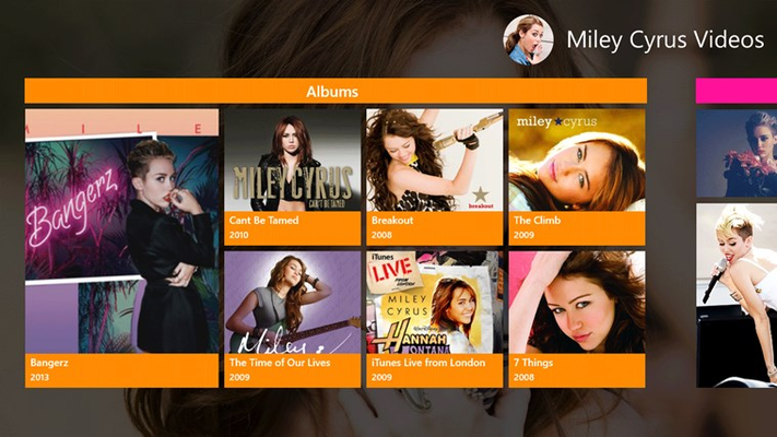 Miley Cyrus Videos for Windows 8