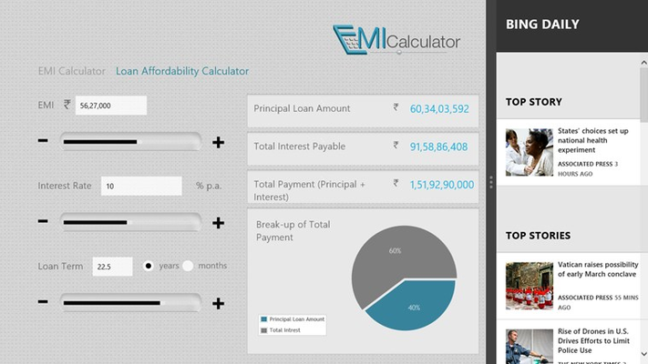 EMI Calculator in snapped view