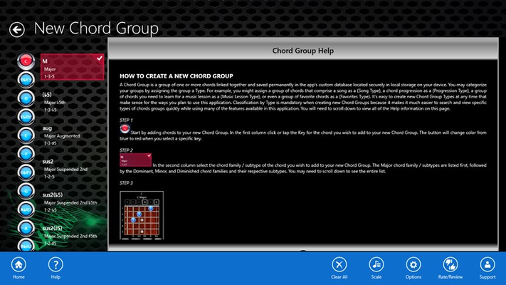 View a detailed tutorial that describes how to create/edit Chord Groups. To access an app tutorial simply right-click or swipe from the bottom of the screen and then click or tap the Help button.