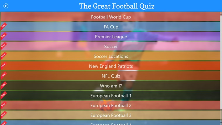 The Great Football Quiz for Windows 8