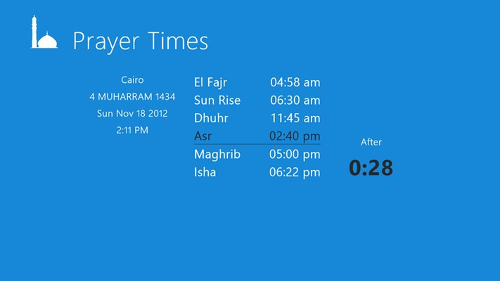 Prayers times is an application that allow you observe prayer times whatever you are busy during day work with a descending timer that tells you the time remaining to pray before the next pray .