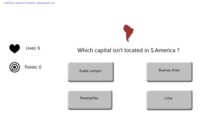 Which capital isn't in the specific continent