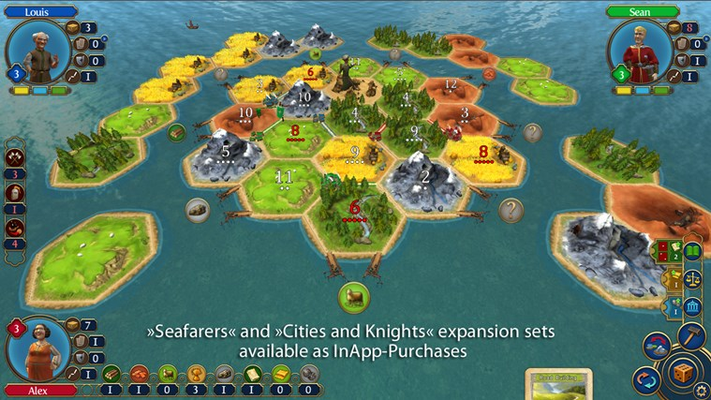 The Seafarers and Cities & Knights Expansions are available as In-App-purchases.
