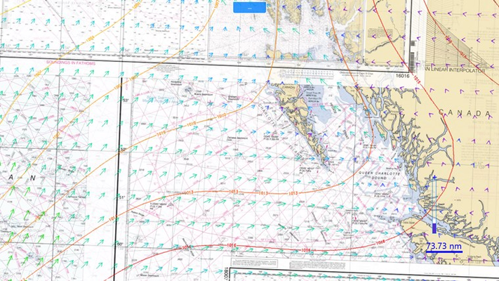 Wind vectors and surface pressure information is available.