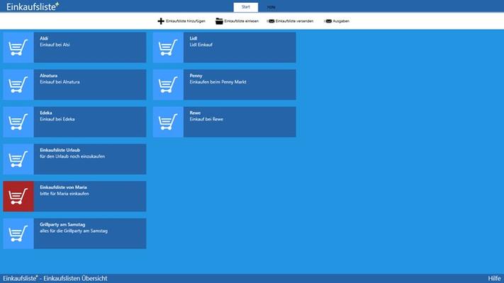Übersicht der Einkaufslisten