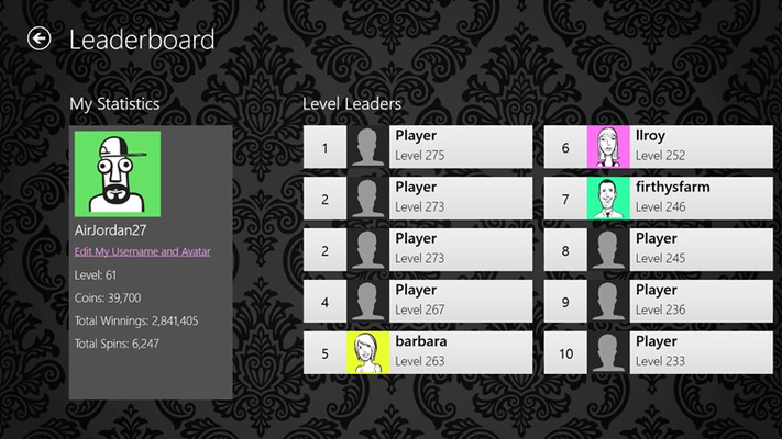 See your progress versus the rest of the Slot Machine players on the leaderboards!