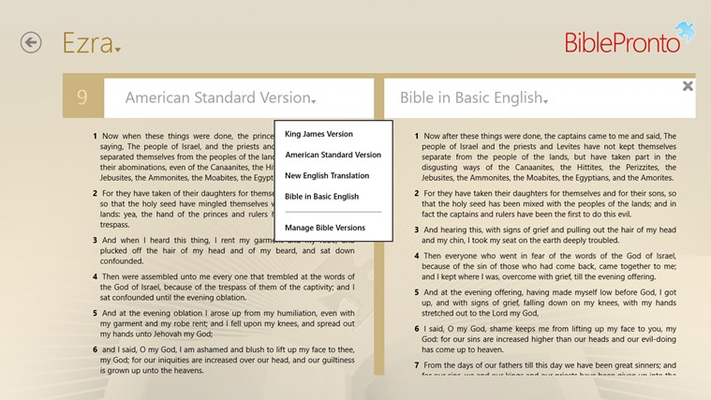 Parallel Reading Mode with quick bible version selections for both versions
