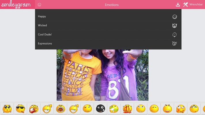 sample photo with emoticon category dropdown