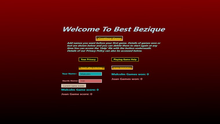 The welcome Menu page