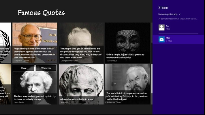 Share quotes with friends or look up author on Wikipedia