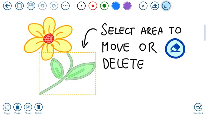 You select strokes or images to move them or delete