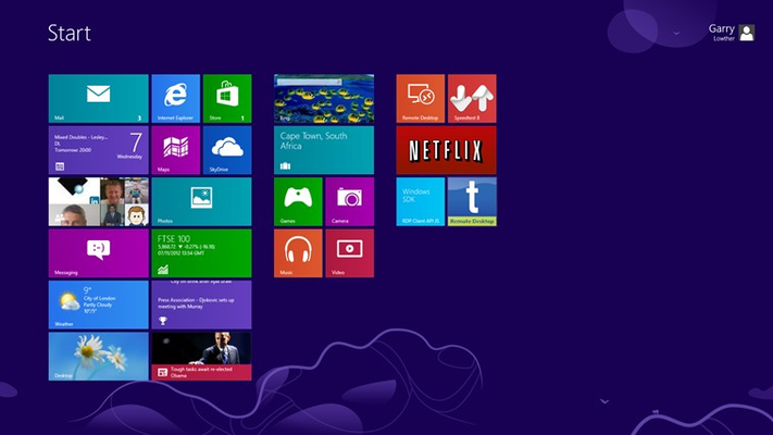 Windows Surface RT Home Page Tiles.