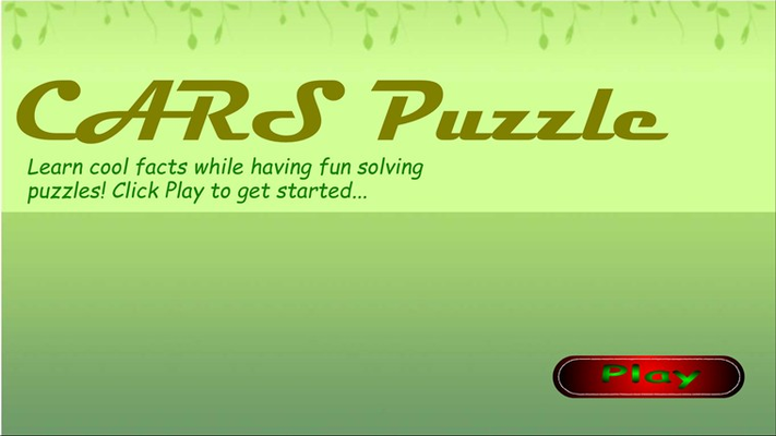Cars Jigsaw Puzzle - Startup Screen