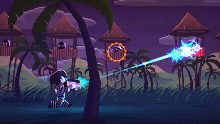 Major Mayhem shooting ninjas in the Tropics