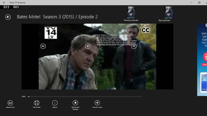 during watching a movies you can press on about button to get information about serie