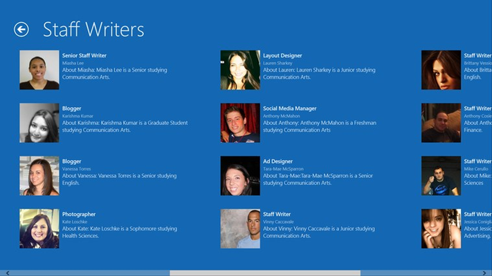 The Group Details page for the new Grid View that is used for the Staff Bios