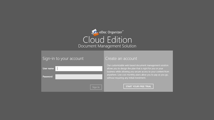 Log in to eDoc Organizer Cloud Edition with your username and password securely over the internet